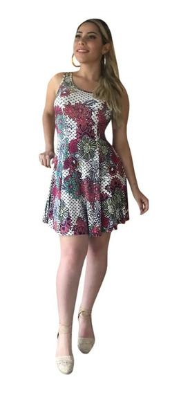 Vestido Estamapado Rodado Regata Roupas Femininas Verão