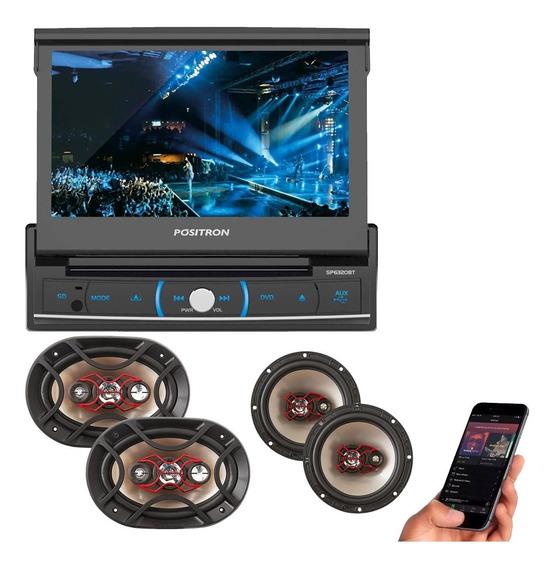 Kit Auto Falante Universal + Toca Radio Carro Dvd Player Mp3