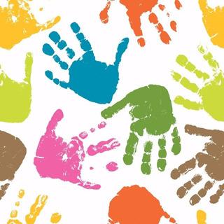 Papel De Parede Infantil Crianças Mãos Coloridas Autocolante