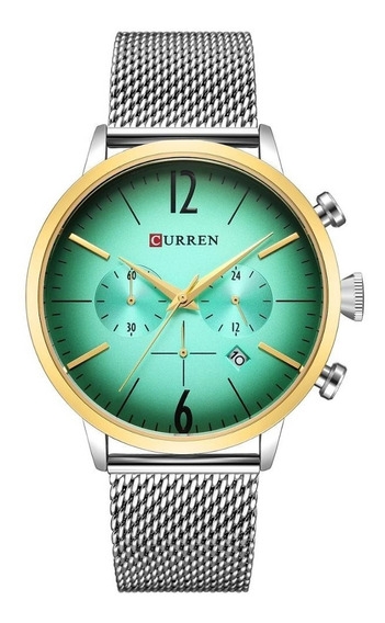 Relógio Masculino Curren Analógico 8313 - Prata E Verde