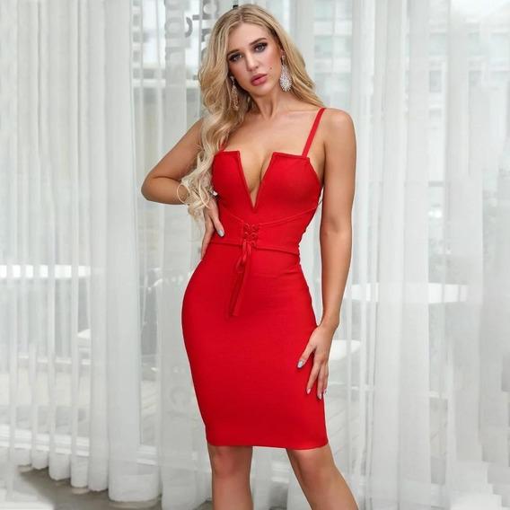 Vestido Bandagem Vermelho Curto Festa Casual