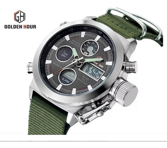 Super Lindo Relógio Militar Masculino Golden Hour Pulso