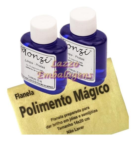 2x Limpa Joias Em Prata Monzi 35ml Original Produto Flanela