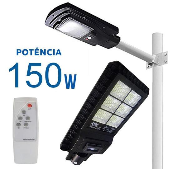 Luminaria Solar Led Placa 150w Refletor Poste Luz Sensor
