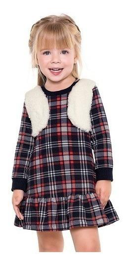Vestido Infantil Manga Longa Xadrez