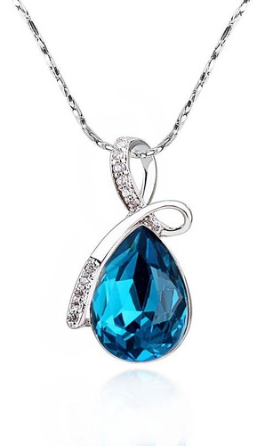 Imagen 1 de 4 de Collar Gota Azul De Chapa De Oro Con Zirconia - 1066