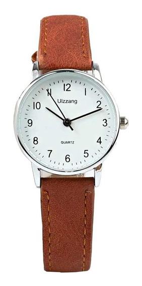 Relógio Feminino Com Números Pequeno Prata Pulseira Couro