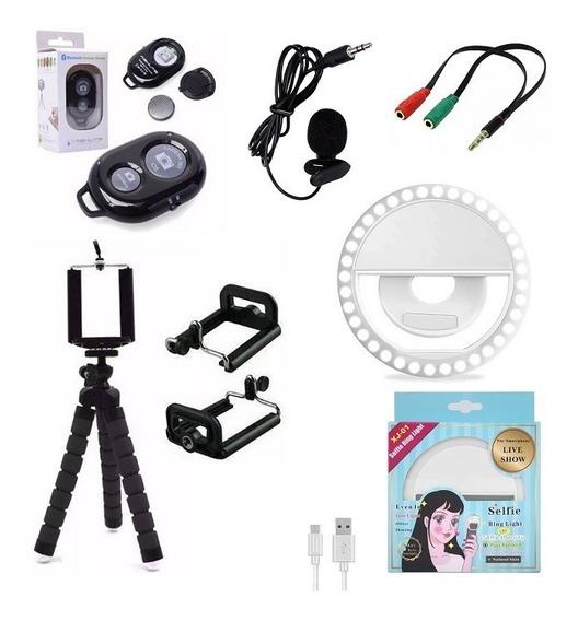 Kit Video Aula Chamada Microfone Tripe Acessórios Celular