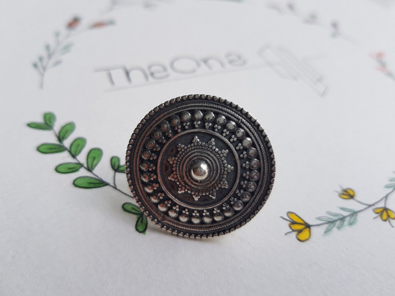 Anel Mandala M Prata 925