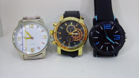 Kit 3 Relógios Masculinos Aço Inox, Couro, Silicone