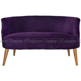 Poltrona Namoradeira Anjou Violeta Em Veludo Alta Decoração