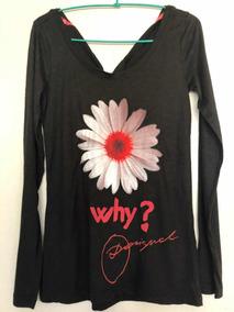 & Polera Negra Desigual Flor Nueva M Con Envío