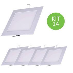 Plafon Painel Led Embutir 9w Branco Frio Quadrado Kit 14