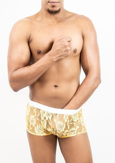 Cueca Mini Boxer De Renda Transparente - Ori Sexy