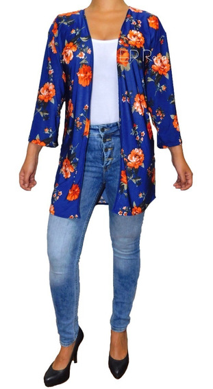 Kimono Sobretodo Corto Cardigan Flores Moda Abrigo Saco Moda