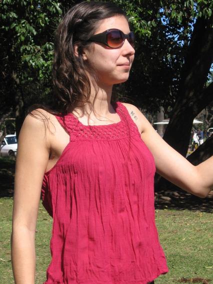 Musculosa De Bambula De Algodón Con Puntilla Super Fresca
