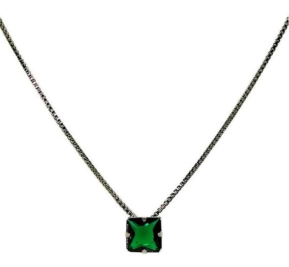 Colar Masculino Quadradinho Verde Esmeralda Ródio