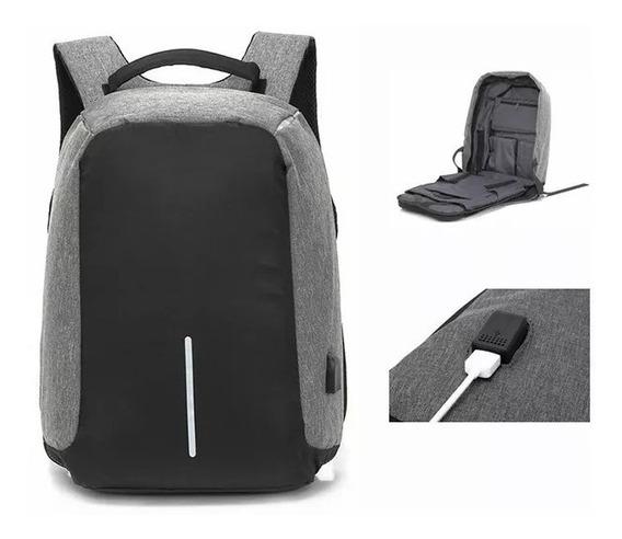 Mochila Antirrobo Carga Usb Impermeable Escolar Laptop