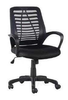 Cadeira Preta Com Tela Secretária Para Escritório Giratória