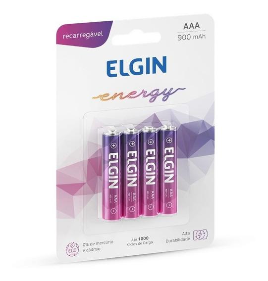 Pilhas Recarregável Aaa (palito) Energy 900 Mah 4 Un - Elgin
