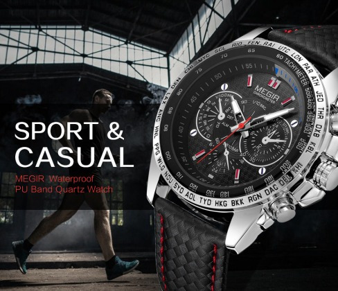 Relógios Pulso Quartzo Megir Aço Inoxidável Original K3157