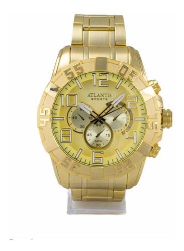 Relógio Analógico Atlantis Original Social Dourado Masculino