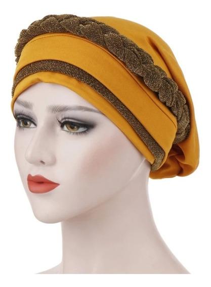 Turbante Trenza Brillosa Alopecia Cáncer Accesorio Moderno