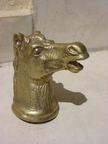 Antiga Escultura De Bronze Rosto Cavalo Trabalhado.