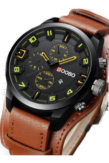 Relógio Doobo Bracelete Pulseira Couro Larga
