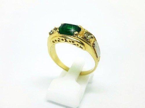 Anel De Formatura Masculino Folheado Ouro 18k (verde, 30)