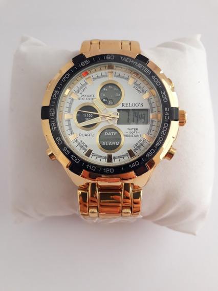 Relógio Dourado Top De Luxo Masculino Barato Ostentação