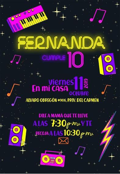 Invitaciones Neon Party En Mercado Libre México