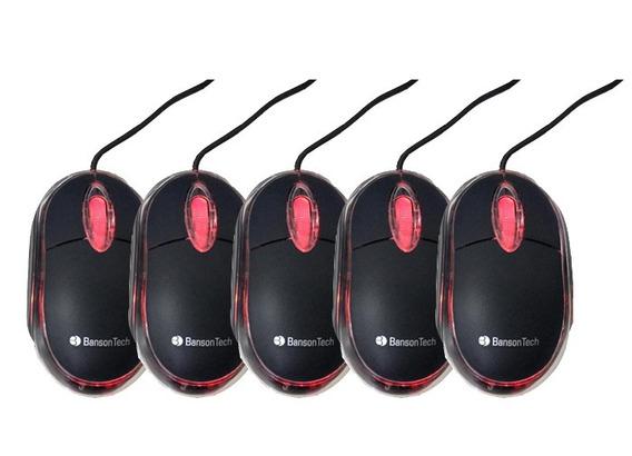 Kit 5 Mouses Optico Usb Preto C Led Garantia Bansontech
