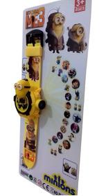 Relógio Infantil Minions Com Projetor Imagem 24 Grids
