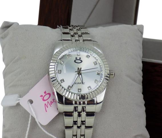 Relógio Prateado Feminino Original + Colar + Brincos - 3a37