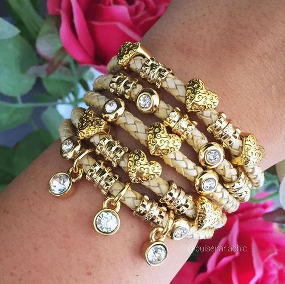 Bracelete Feminino Dourado Coração