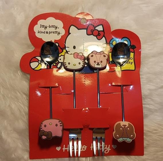 Talher Infantil Hello Kitty Com 2 Colheres E 2 Garfos