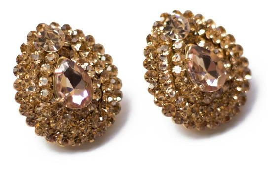 Brincos Femininos Pequenos Dourado Bijuteria E Pedras Strass