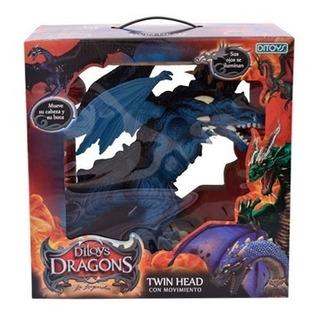 Juguete Ditoys Dragon Doble Cabeza Luces Sonidos Promo!