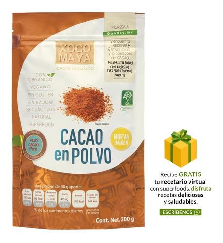 Imagen 1 de 5 de Polvo De Cacao Orgánico 200 Gr. Xoco Maya