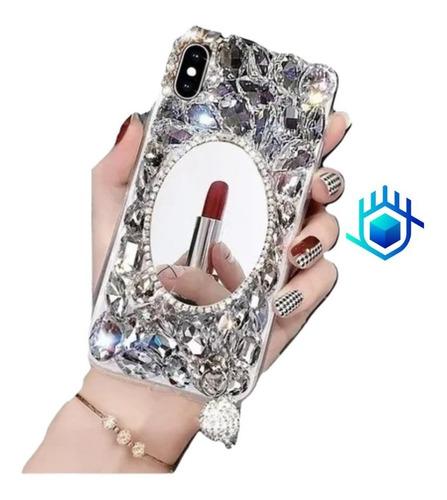 Case Espejo Piedras Colgante iPhone 6 7 8 Plus X Xr Xs Max