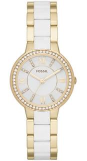 Reloj Fossil Virginia Blanco Y Dorado Es3562 Original