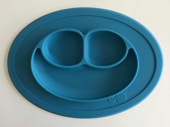 Prato De Silicone Ezpz Mini Happy Mat Blue