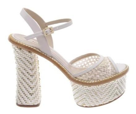 Sandalia Schutz Salto Alto Branca / Dourada S2041400110001u