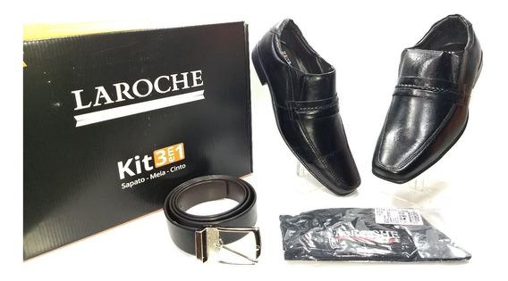 Kit 3 Em 1 Laroche Sapato Social/meia/cinto Ref: 2607pto