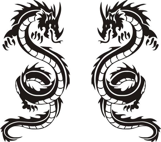 Calcomanía Dragon Tribal 05 - 2 Unidades - Graficastuning