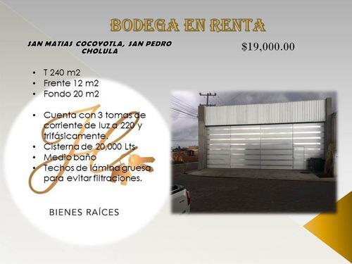 Imagen 1 de 3 de Bodega Comercial En Renta En Cholula, Puebla