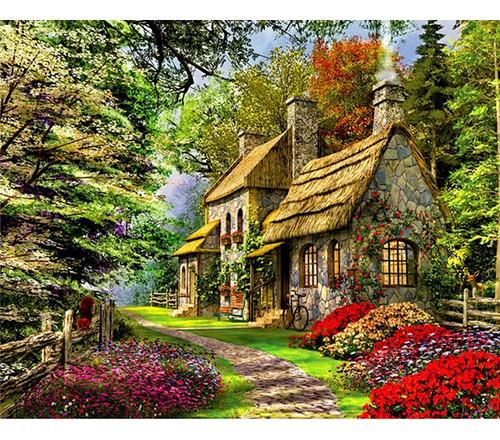 Pintura Numerada Cabana Na Floresta_p2