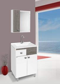 Gabinete Para Banheiro Kit Pop Com Pés + Cuba + Espelheira