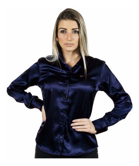 1 Kit 8 Camisas Femininas Cetim C/ Elastano - Pimenta Rosada